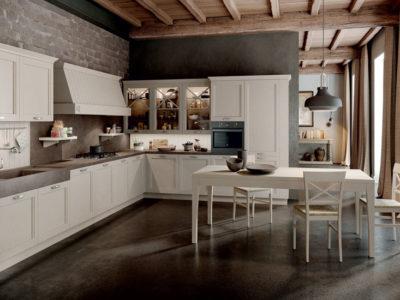 cucina classica angolare con ante telaio laccato argilla